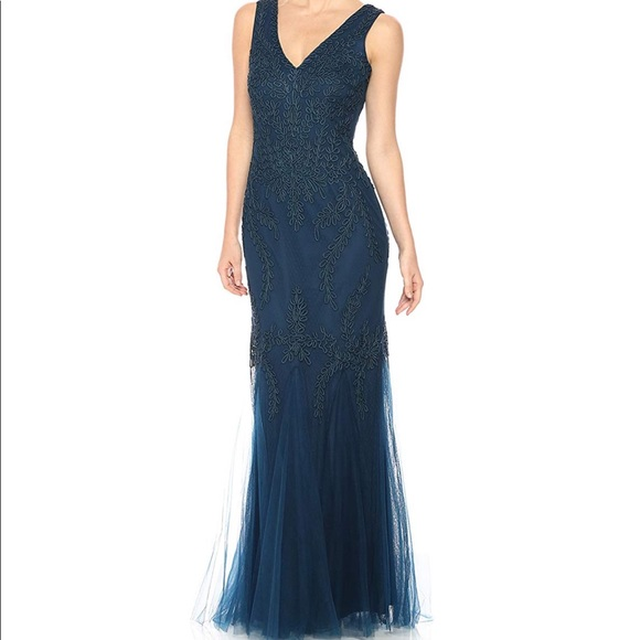 b5355ff65d8 Cachet NY Embroidered Tulle gown dress Teal